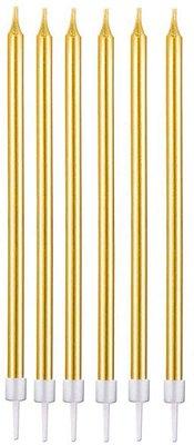 Vela metalizada - Dourada (6 velas com pezinhos - 11 cm)