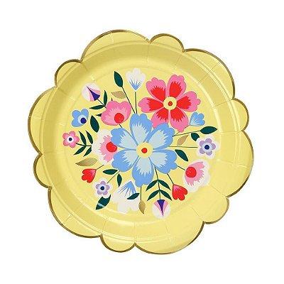 Prato de papel amarelo - Flores Frida (18 cm - 8 unidades)