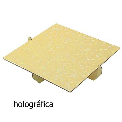 Bandeja Quadrada 20x20 Holográfica - Amarelo Candy (papelão desmontável)