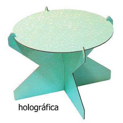 Boleira 20 cm Holográfica - Verde Candy (papelão desmontável)
