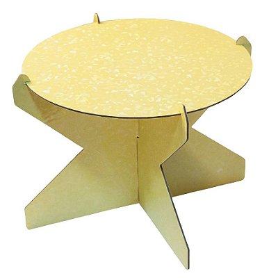 Boleira 26 cm Holográfica - Amarelo Candy (papelão desmontável)