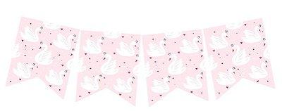 Bandeirola de papel - Cisne (12 peças + cordão)