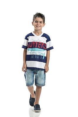 Camiseta listrada Marinho Surfers