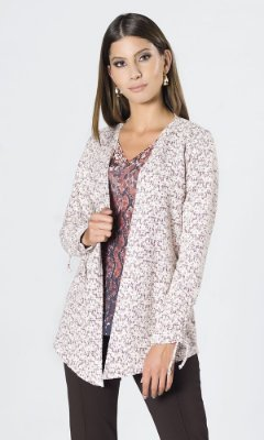 Cardigan de Malha Tweed com Amarração no Punho