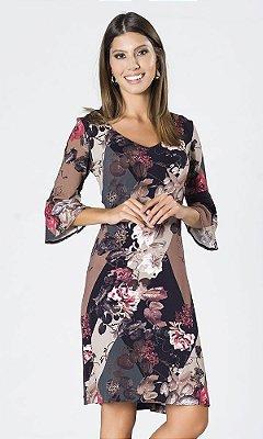 Vestido de Viscolycra Floral com Detalhe de Couro Ecológico