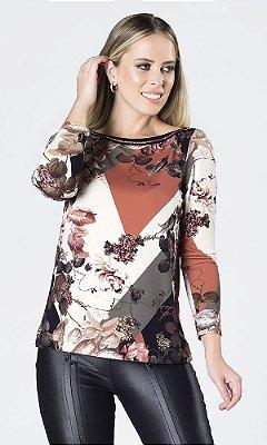 Blusa de Viscolycra Estampada com Corrente de Detalhe