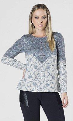 Blusa de Malha com Estampa Exclusiva Barrada