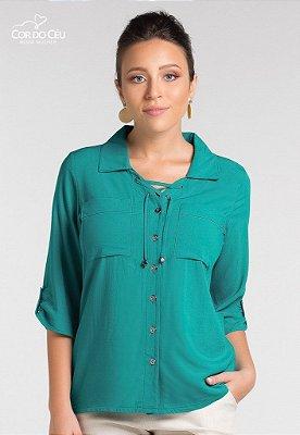 Camisa em Tricoline de Viscose com Amarração no Decote