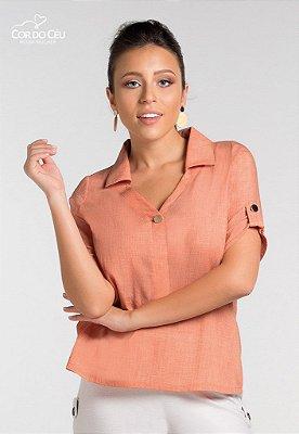 Camisa Linho Botão Metalizado