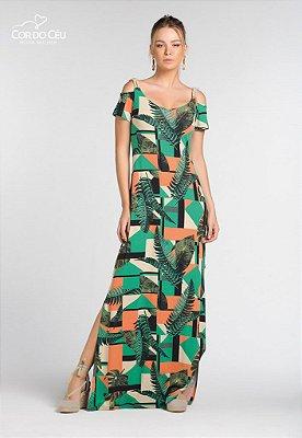 Vestido Longo com Cordão Trançado nas Alças