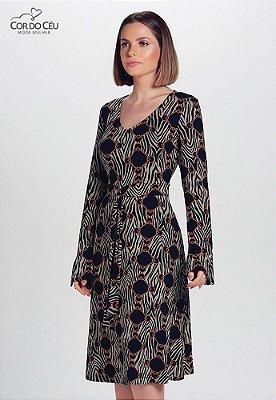 Vestido Mídi em Viscolycra Animal Print