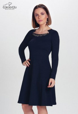 Vestido Evasé em Malha Estruturada