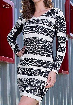 Vestido Malha Jacard Padrão Listrado Geométrico
