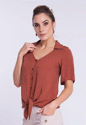 Camisa Viscose Plumetis com Amarração