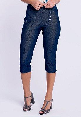 Corsário Malha Jeans com Lapelas em Assimetria