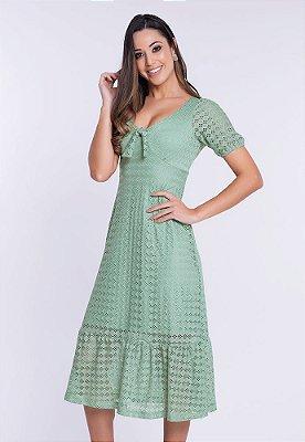 Vestido Romântico em Malha Crochê