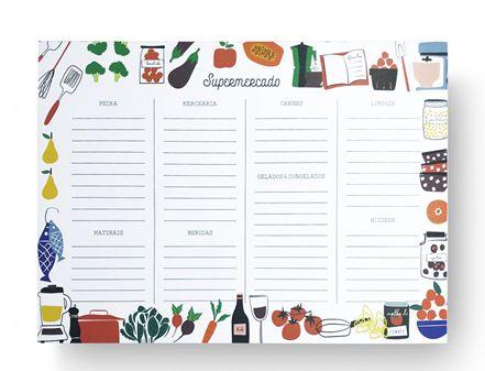 Bloco Planner Detalhado com ima Setor Supermercado Ingredientes