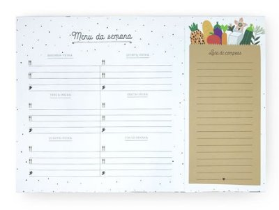 Bloco Planner Menu da Semana com ima Ingredientes A4