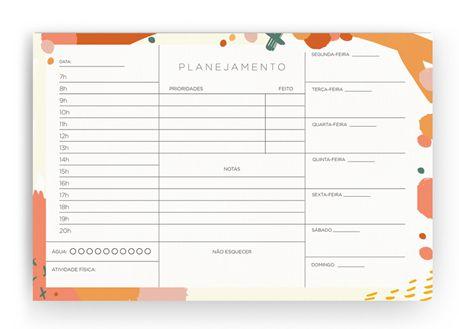 Bloco Planner Detalhado Diario Tinta