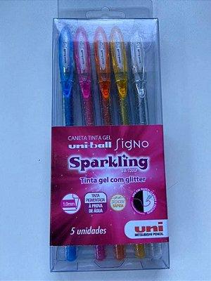 Caneta Sparkling gel com glitter Estojo com 5 unidades