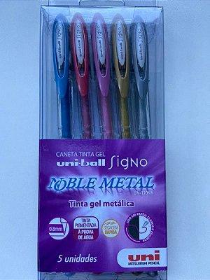 Caneta Tinta Gel Metalica Estojo com 5 cores