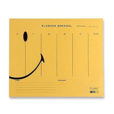 Planner Bloco Semanal Smiley - Amarelo - 24,5 x 20,3 - semanal