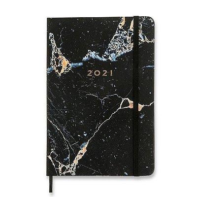 Agenda Planner 2021 Minerais - Mármore Preto - 14x21 - semanal anotações