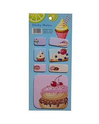 Bloco Adesivo Cupcake Azul