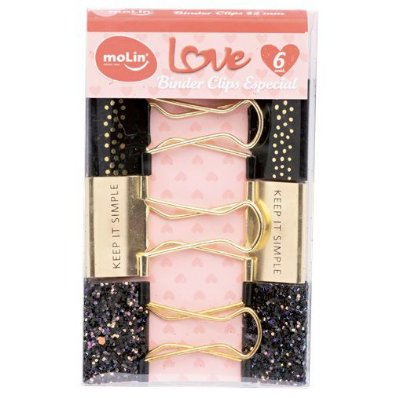 Binder Clip Especial Preto Love 32mm