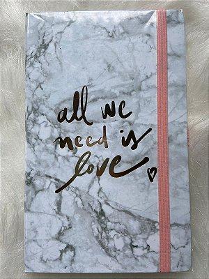 Caderneta Marmore All We Need Is Love sem pauta 12x20