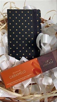Kit caderneta mini poá e tablete chocolate e caramelo Nugali