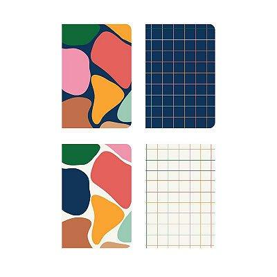Pack 4 Cadernos Revista Manchas com miolo variado