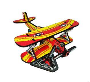 Avião em MDF - Vermelho e Amarelo