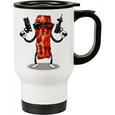 Caneca Térmica Bacon Exterminador 500ml Branca