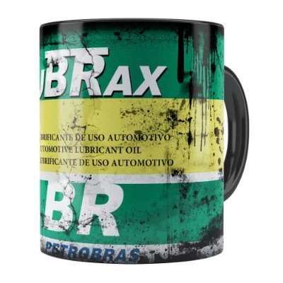 Caneca Lata de Óleo Retrô Oil Lubrax v02 Preta