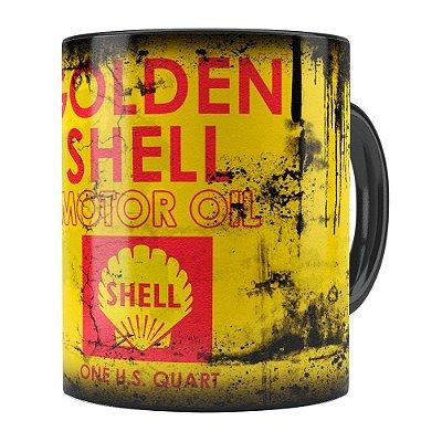 Caneca Lata de Óleo Retrô Oil Shell Preta