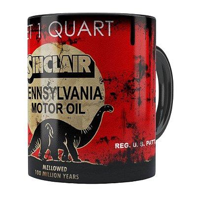 Caneca Lata de Óleo Retrô Oil Sinclair Preta