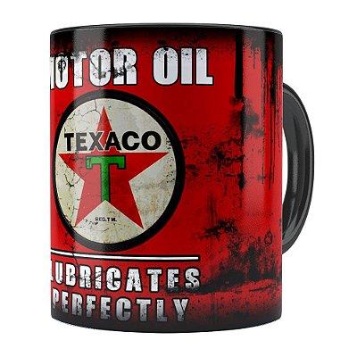 Caneca Lata de Óleo Retrô Oil Texaco Preta