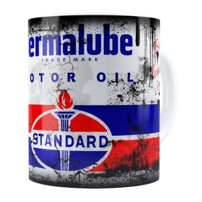 Caneca Lata de Óleo Retrô Oil Standard Branca