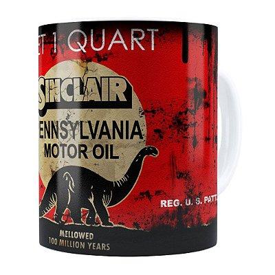 Caneca Lata de Óleo Retrô Oil Sinclair Branca