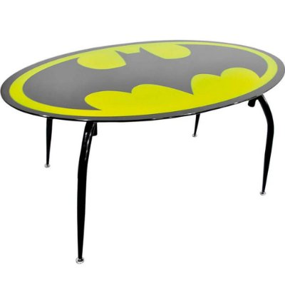 Mesa de Jantar Batman Logo Tampo de Vidro 150x90cm