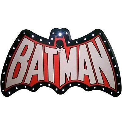 Placa Decorativa Batman Led Preta Vermelha 66x33cm