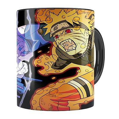Caneca Naruto Shippuden Naruto e Sasuke 01 Preta