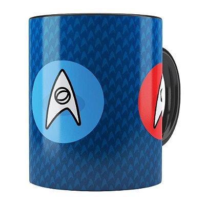 Caneca Star Trek Logos Comando, Engenharia e Ciência Preta