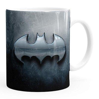 Caneca Batman Logo Metálico Branca