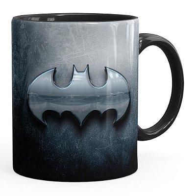 Caneca Batman Logo Metálico Preta