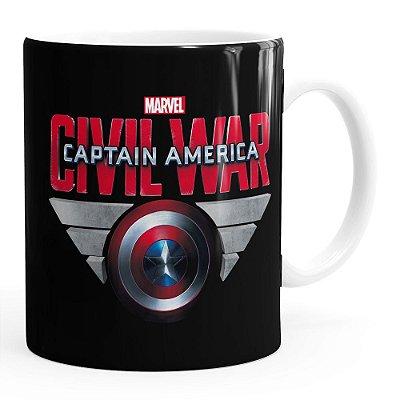 Caneca Capitão América Guerra Civil Shield Branca