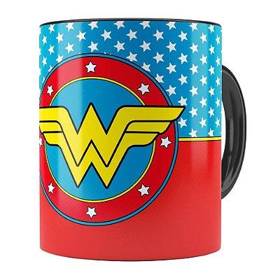 Caneca Mulher Maravilha (Wonder Woman) v01 Preta
