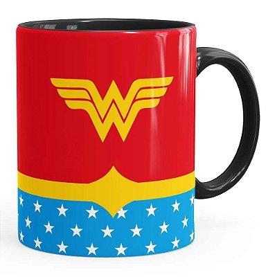 Caneca Mulher Maravilha (Wonder Woman) v03 Preta