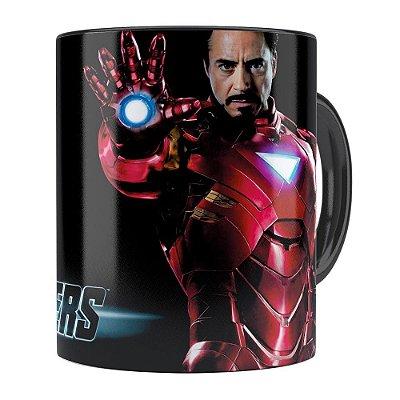 Caneca Os Vingadores (Avengers) Iron Man Preta